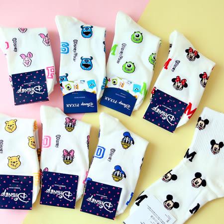 韓國 迪士尼滿版字母造型四分襪 米奇 米妮 毛怪 大眼仔 怪獸大學 襪子 造型襪 流行襪