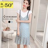 蕾絲洋裝--氣質圓領棉質細肩帶蕾絲魚尾裙兩件式洋裝(黑.粉.藍L-3L)-D479眼圈熊中大尺碼◎