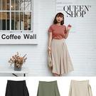 Queen Shop【03020538 】前片打折造型雪紡長裙 三色售 *現+預*