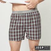 【JEEP】五片式剪裁 純棉平口褲(紅色格紋)