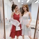 2019波點露背吊帶洋裝雪紡夏季復古蛋糕裙裙子韓版度假中長裙