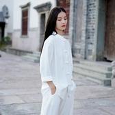 茶服 唐裝女禪意中國風棉麻盤扣春中式仙氣民國風復古寬松茶服上衣女裝 寶貝計畫