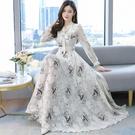 高檔雪紡洋裝2021新款春秋季大碼女裝長袖印花沙灘大擺長裙子 快速出貨