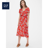 Gap女裝妙趣印花中長款裹身洋裝493751-紅色印花