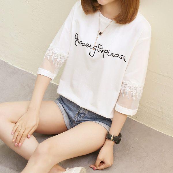 (T-8710)簡約半袖寬鬆蕾絲七分袖短袖T恤