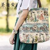 原創文藝帆布包女手提包小清新韓版帆布袋拉鏈印花單肩包手提環保袋 PA6815『紅袖伊人』