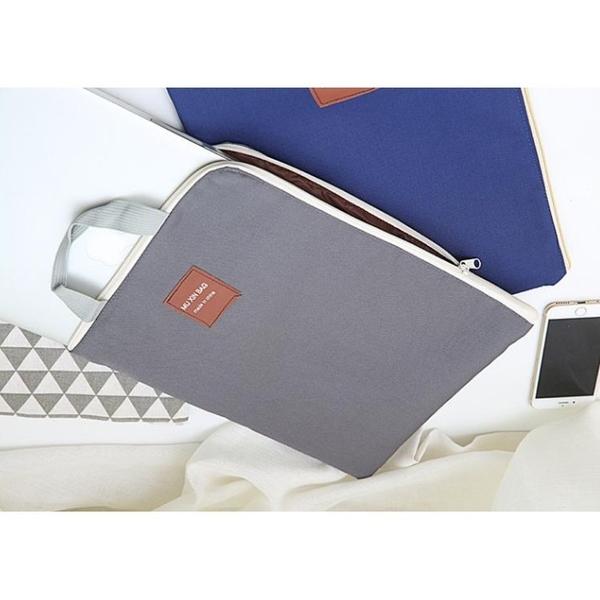 低調文青風A4拉鍊手提袋文件收納平板收納袋文件袋資料夾袋公事包 帆布收納袋 資料夾 資料袋
