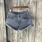 牛仔短褲 韓國高腰煙灰色前短后長大碼寬松闊腿毛邊熱褲