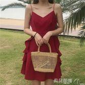新品-吊帶裙巴厘島度假沙灘裙女2019新款泰國性感露背吊帶裙普吉島紅色連身裙 【时尚新品】