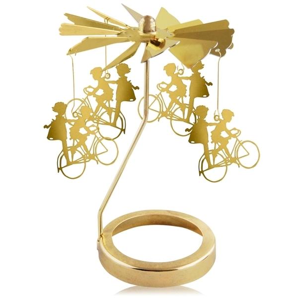 歐沛媞 旋轉燭罩蠟燭台-金-男孩和女孩 加贈YANKEE CANDLE 香氛蠟燭49g
