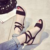 楔形涼鞋高跟防水台厚底黑色露趾交叉時尚涼鞋女學生鞋「青木鋪子」