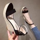2021夏季新款性感超高跟坡跟女涼鞋簡約一字帶防水台厚底露趾女鞋【快速出貨】
