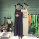 韓國ulzzang吊帶無袖t恤女夏2020新款韓版寬鬆長款背心洋裝子潮連身裙