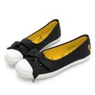 DISNEY 甜美氛圍 維尼印花 緞帶懶人鞋-黑(DW7102)
