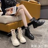 馬丁靴 中筒馬丁靴女2020年秋冬季新款英倫風網紅百搭厚底瘦瘦短靴ins潮 歐歐