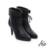A.S.O 保暖靴  反摺直套綁帶奈米短靴  黑軟皮