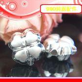 銀鏡DIY S990純銀DIY材料配件~立體霧面質感愛心型四葉幸運草墜飾U(穿式)~適合手作蠶絲蠟線