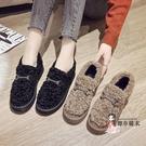 毛毛鞋 女冬外穿刷毛2021年新款韓版平底學生一腳蹬豆豆鞋厚底棉鞋
