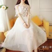 韓版小清新學生小禮服網紗裙子仙女裙子中長款過膝蓬蓬連身裙超仙 S-xl 杏色白色可選