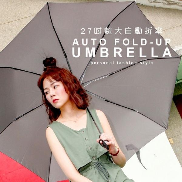27吋超大自動傘 / 傘大 八骨 黑灰藍 大傘面 防風 Upon雨傘