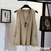 針織馬甲 A字版寬鬆毛衣女馬甲女套頭大碼秋冬季韓版V領背心無袖針織衫外套 愛麗絲