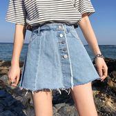假兩件牛仔短裙褲女夏季新款韓版單排扣高腰顯瘦闊腿短褲學生熱褲