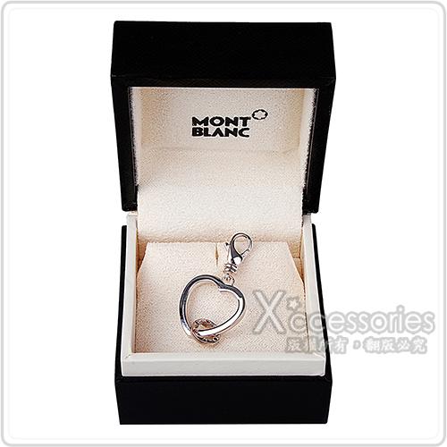 萬寶龍MONTBLANC六角星LOGO愛心設計鑲鑽飾吊飾(銀)