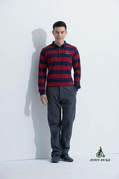JOHN DUKE 約翰公爵美式休閒立領POLO衫(藍紅)