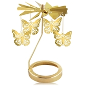 歐沛媞 歐式旋轉燭罩蠟燭台-金-蝴蝶飛舞 加贈YANKEE CANDLE 香氛蠟燭49g