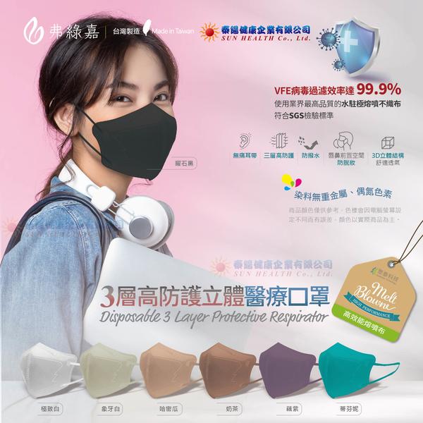 弗綠嘉 醫療級 KN95立體醫療口罩(3層高防護)10入/盒(單片獨立包裝),七種顏色