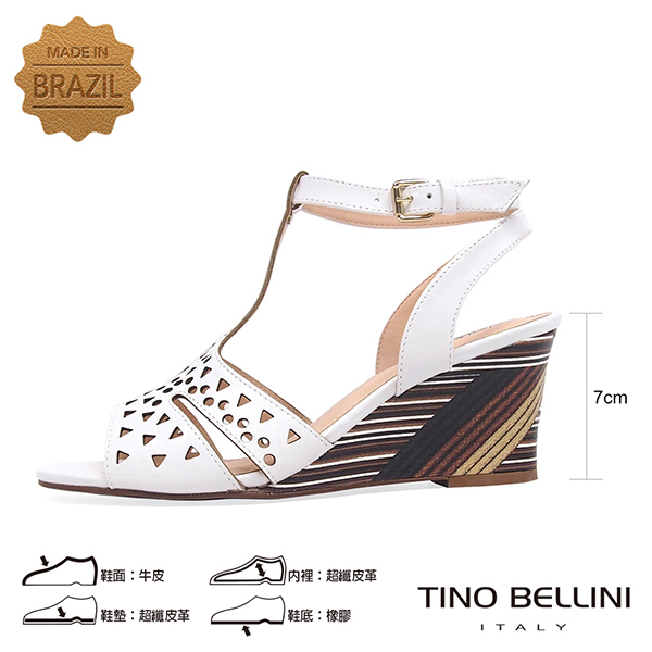 Tino Bellini 巴西進口幾何沖孔木紋工藝楔型涼鞋 _ 白 B83229 歐洲進口款