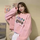 粉色短版衛衣女裝春秋季薄款2021新款寬鬆韓版設計感小個子上衣服ins學生圓領衛衣