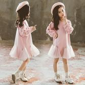 女童連身裙秋冬裝2019新款洋氣小女孩衛衣兒童時尚針織公主洋裝 yu7744【艾菲爾女王】