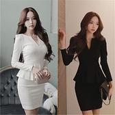 OL洋裝 2021春秋新款韓版大碼女裝修身顯瘦OL職業性感V領包臀長袖連身裙 薇薇