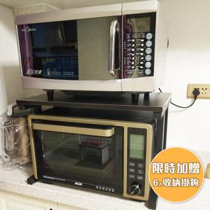 【BLAD】高質感高耐重木紋雙層廚房置物收納架-原木深棕(贈收納掛鉤)原木深棕色