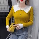上衣年新款秋裝撞色娃娃領長袖毛衣女修身顯瘦內搭針織打底衫 小山好物