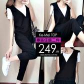 克妹Ke-Mei【AT60235】極簡潤派三件式T恤+連帽背心+哈倫褲套裝