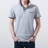 POLO衫—夏季男士短袖T恤男裝翻領修身純色POLO衫男韓版商務有領半袖 依夏嚴選