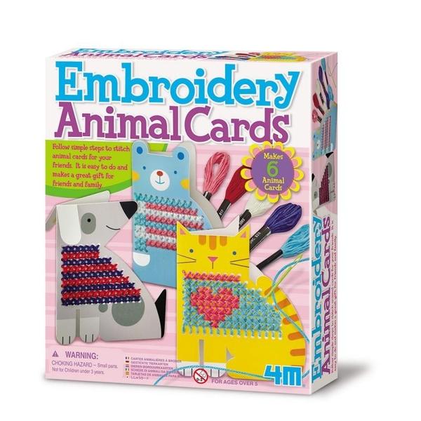 【4M】美勞創作DIY 刺繡動物卡片 Embroidery Animal Cards 00-04626