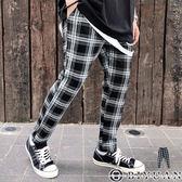 【OBIYUAN】休閒褲 彈性 九分 微寬 鬆緊抽繩 格紋長褲 共1色【K0003】