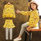 *╮小衣衫S13╭*中大童浪漫碎花黃色長袖上衣裙褲套裝1070835