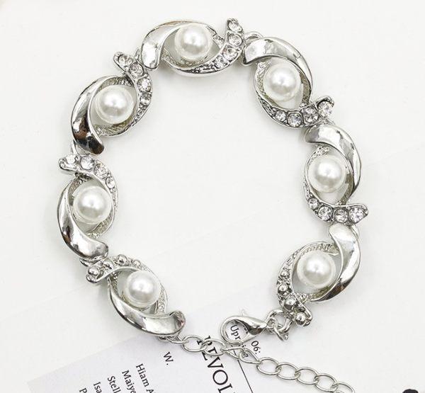 [全館5折] 歐美 個性 創意 手鐲 環形 鑲鑽 珍珠 手鍊 合金
