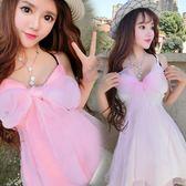 日系夏季新款甜美可愛蘿莉性感夜店低胸收腰度假仙女連身裙 范思蓮恩
