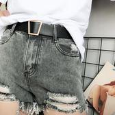 無孔腰帶女寬 韓國百搭金扣裝飾學生皮帶潮流時尚個性褲帶黑白色