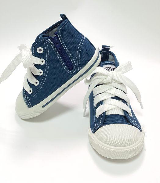 小童 專櫃普萊米 MIT 寶寶高筒帆布鞋《7+1童鞋》C564藍色