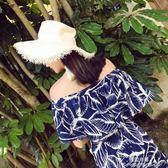波斯米亞沙灘裙女夏新款初戀裙超仙性感一字肩顯瘦雪紡收腰仙 提拉米蘇