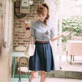 洋裝-短袖夏季立領條紋學院風女連身裙73nj47【巴黎精品】