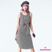 【SHOWCASE】休閒透氣後V交叉連身長版背心裙(灰)