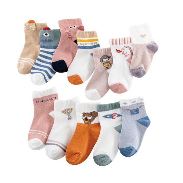 (五件組)精梳棉寶寶襪 可愛造型襪 嬰兒襪 新生兒襪 (1-3Y/3-5Y)【JB0106】