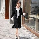 大碼針織魚尾洋裝2018新款寬鬆冷范成熟風女裝初秋溫柔風洋裝 DN18658【棉花糖伊人】
